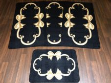 ROMANY GYPSY WASHABLES SETS OF TOURER SIZE 67X120CM MATS/RUGS BLACK/BEIGE BOWS